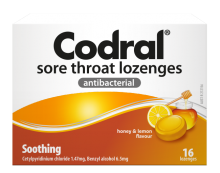 CODRAL® Sore Throat Lozenges Honey & Lemon